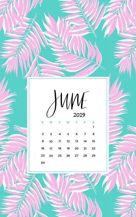 Cute June 2019 iPhone Calendar Template