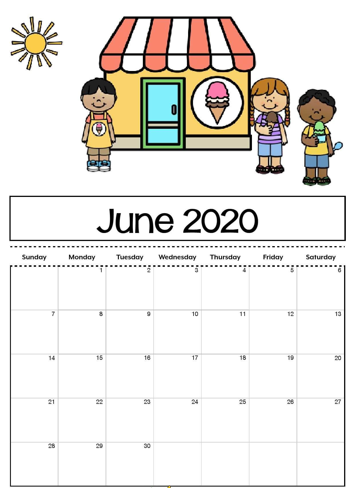 Cute June 2020 Calendar For Kids