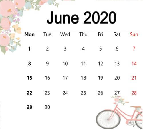 Cute June 2020 Calendar Wallpaper