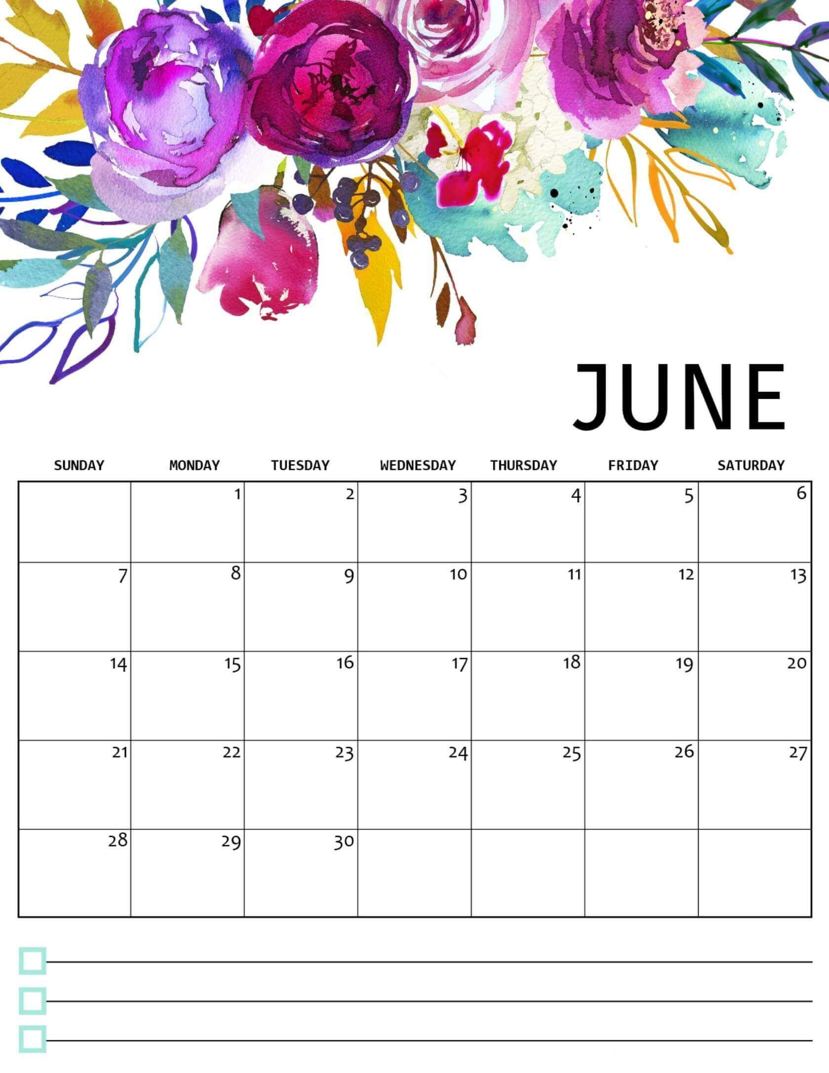Cute June 2020 Colorful Template
