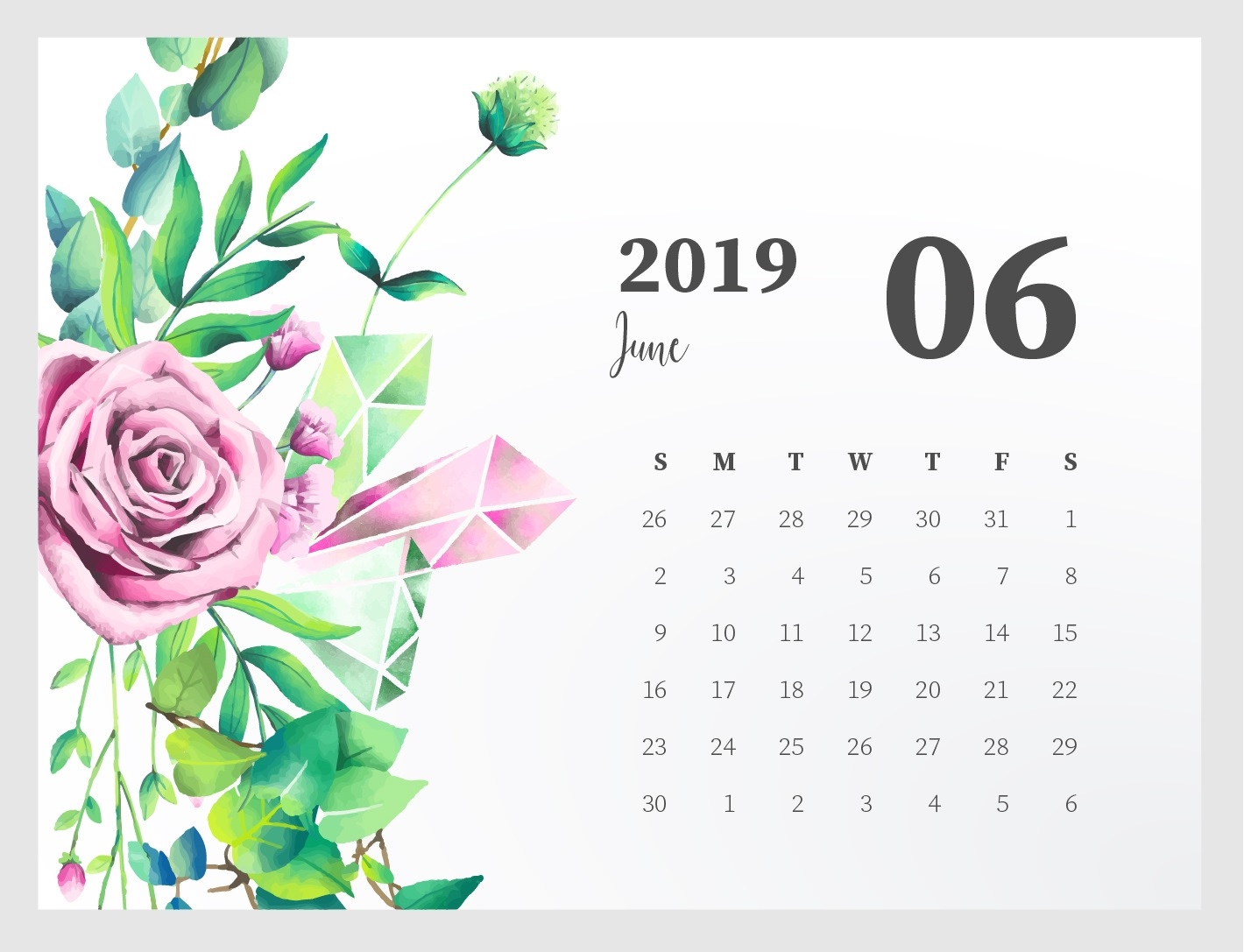 Cute June Calendar 2019 Wallpaper