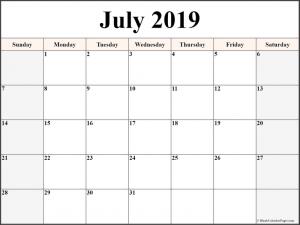 Editable Calendar Template July 2019