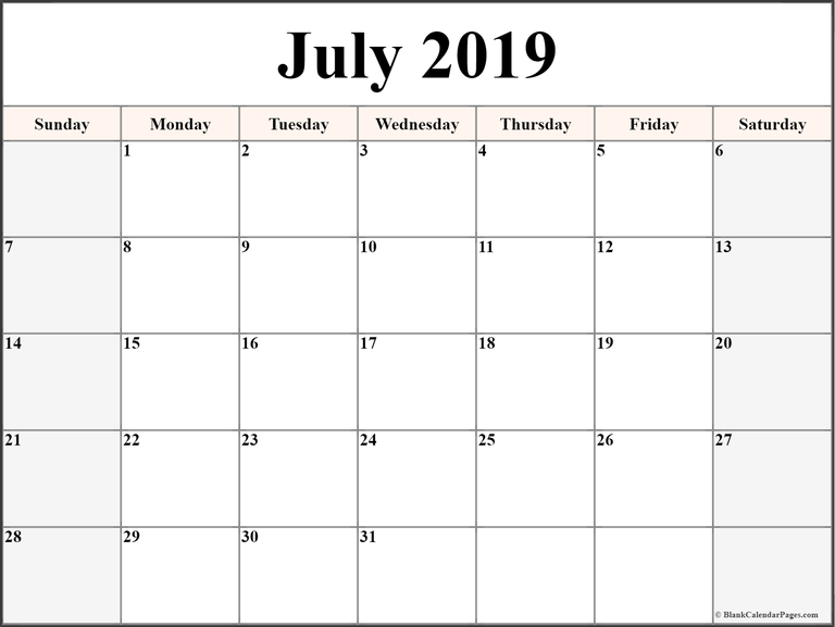 Editable Calendar Template July 2019