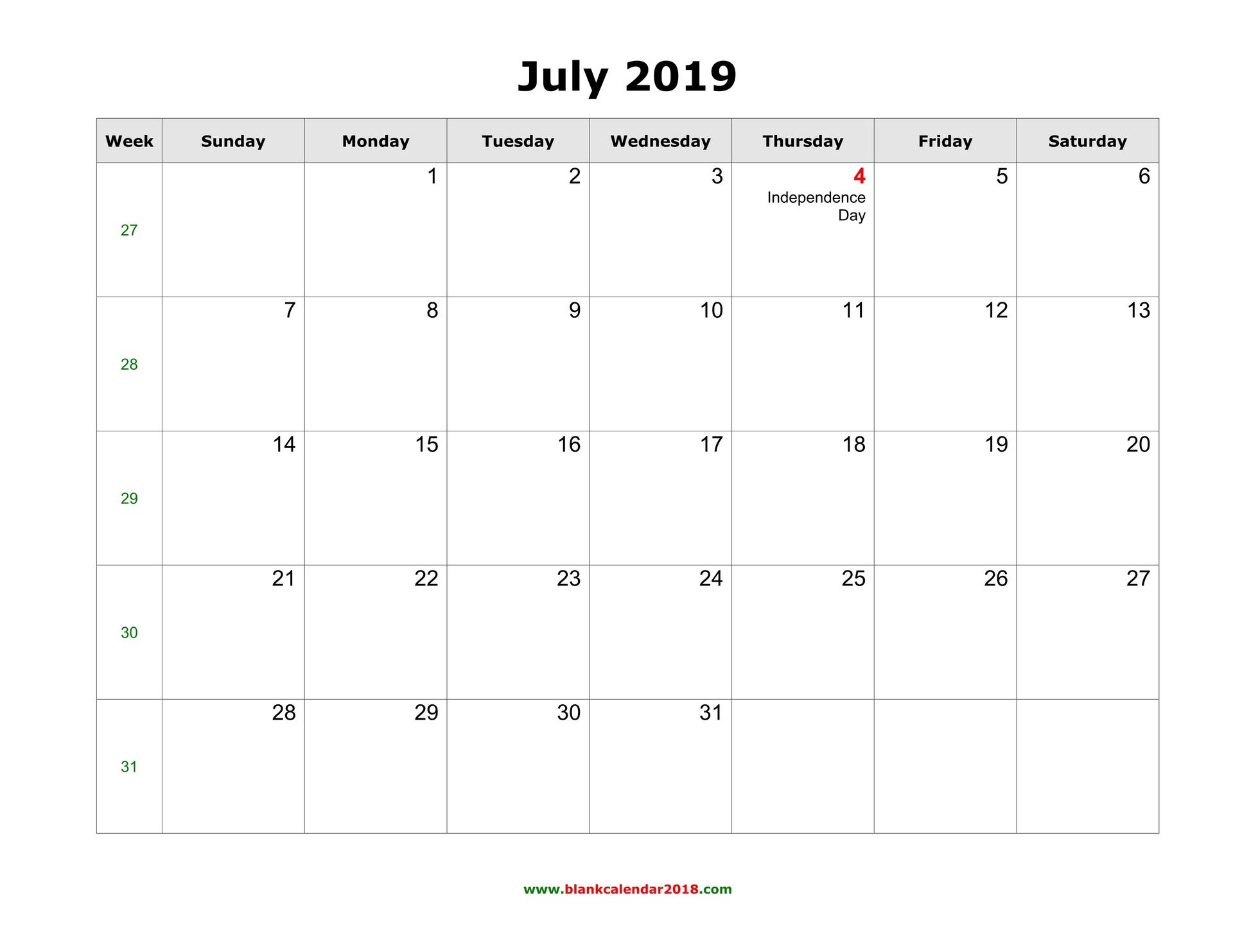 Editable July 2019 Calendar Blank