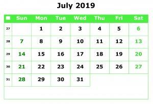 Editable July 2019 Calendar Excel