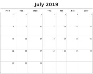 Editable July 2019 Calendar Word