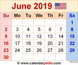 Editable June 2019 Calendar Blank Template