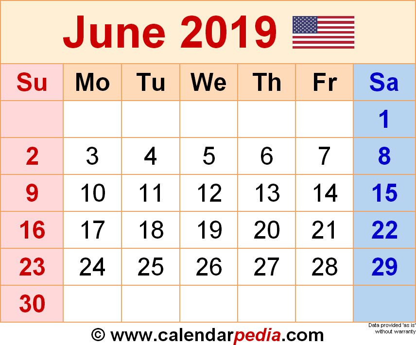 Editable June 2019 Calendar Blank Template