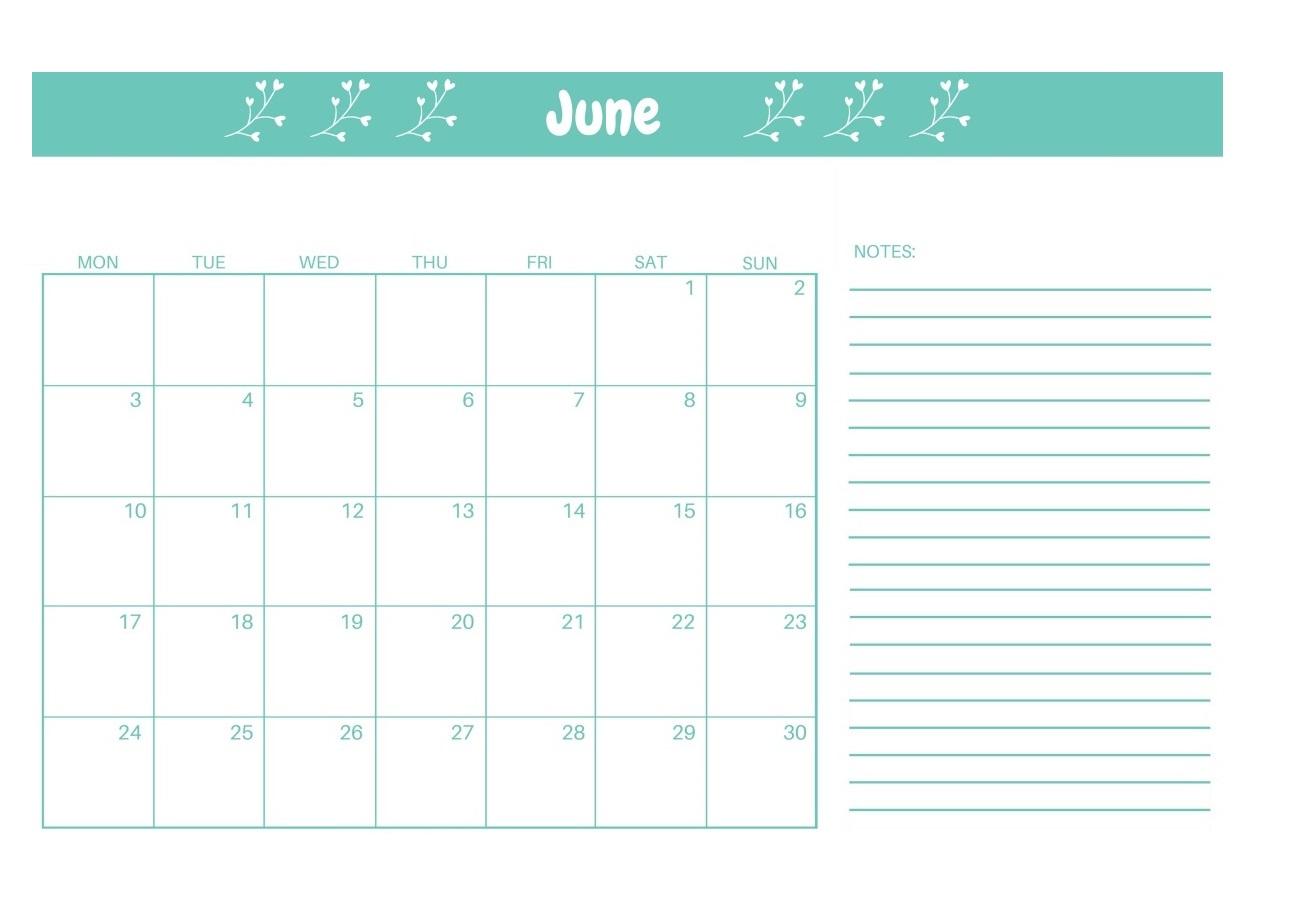 Editable June 2019 Calendar Cute
