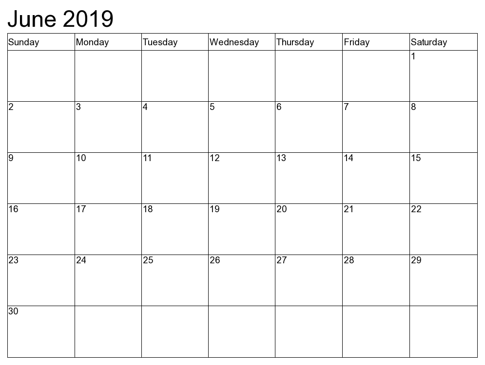 Editable June 2019 Calendar Template