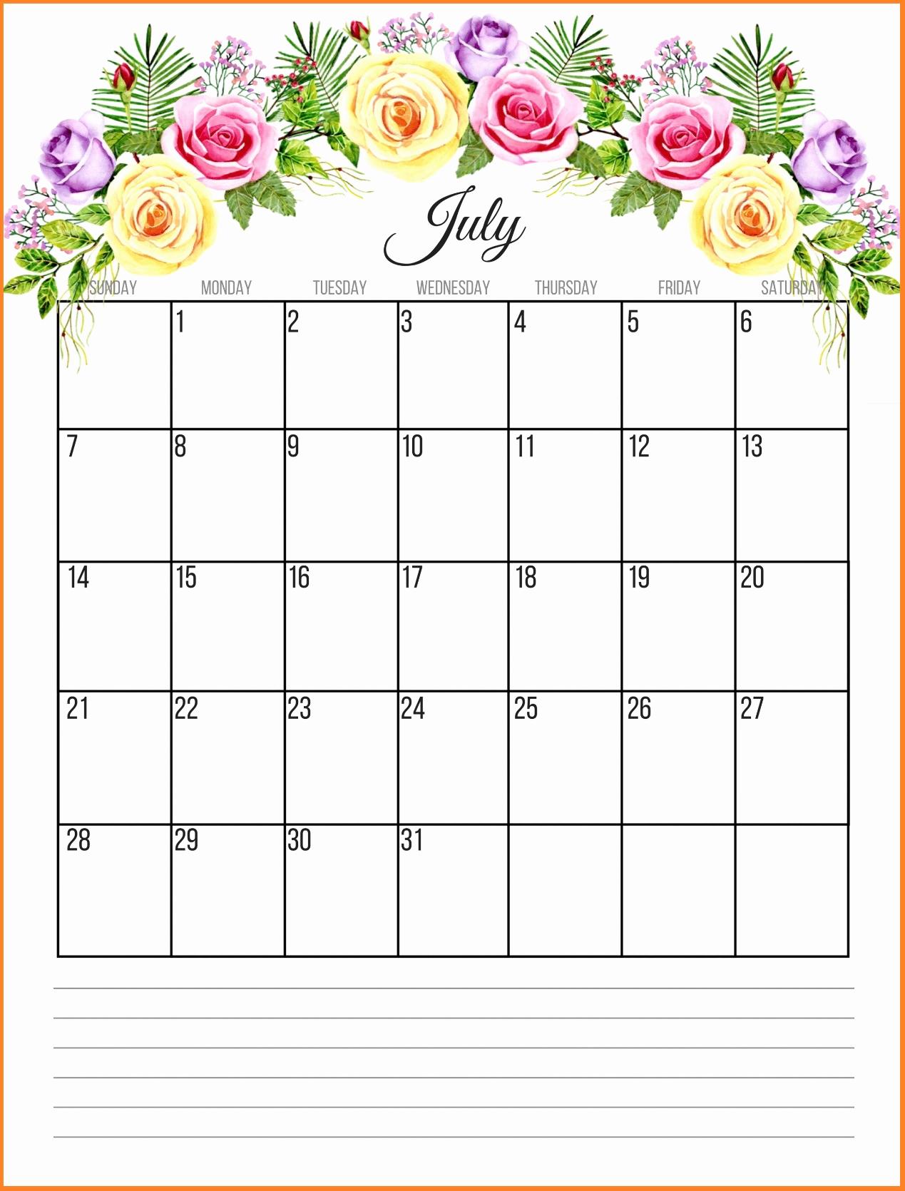 Floral July 2019 Calendar