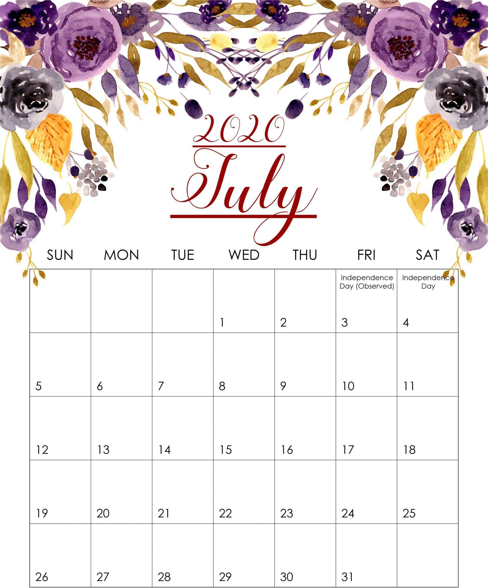 Floral July 2020 Calendar Printable