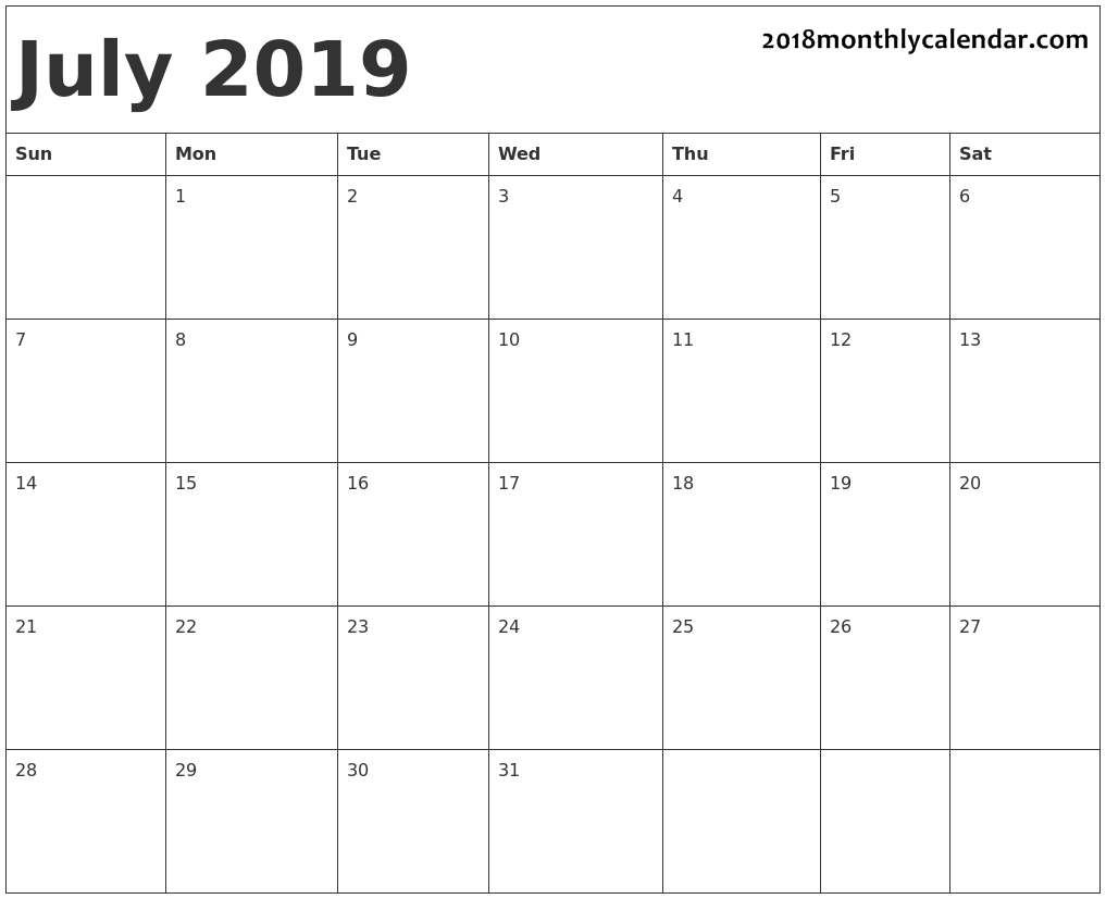 Free Printable July 2019 Calendar Template