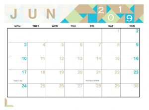 Geometric June 2019 Editable Calendar