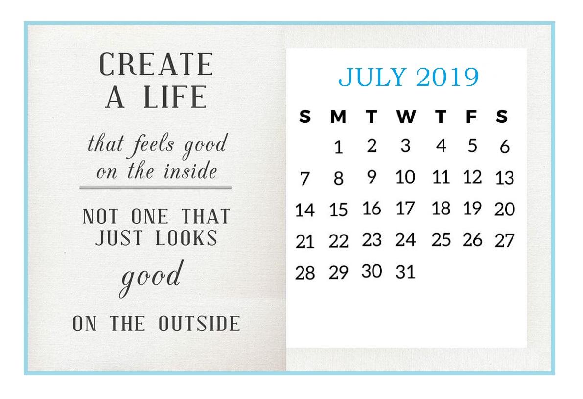 Inspiring July 2019 Desk Calendar
