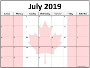 July 2019 Calendar Canada