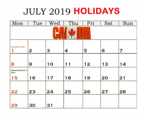 July 2019 Calendar Canada Federal Holidays