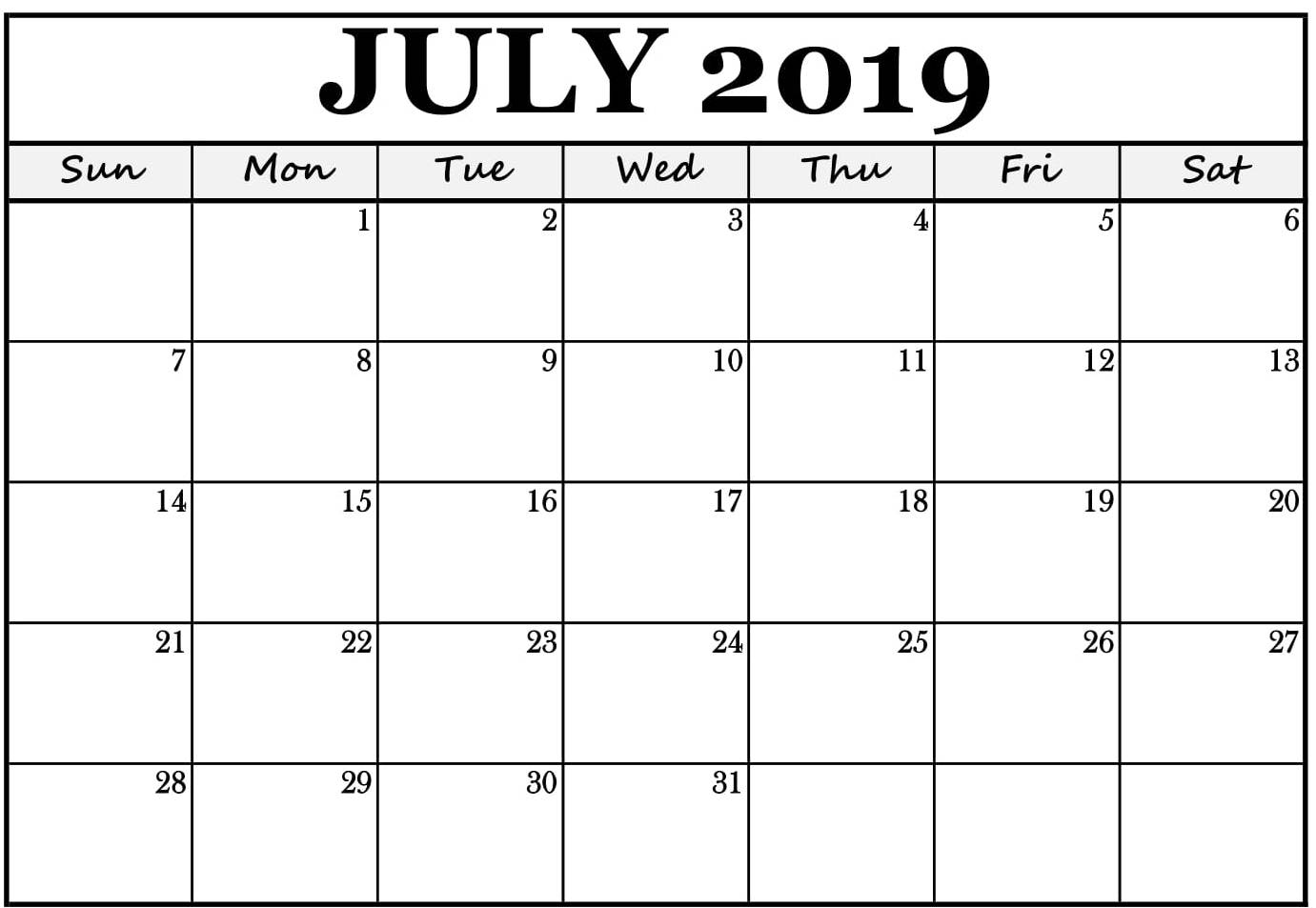 July 2019 Calendar Editable