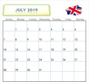 July 2019 Calendar UK