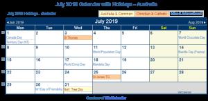 July 2019 Holidays Australia