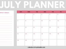 July 2019 Planner Monthly Calendar