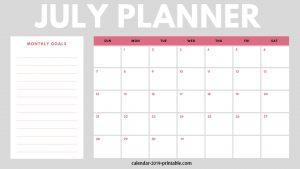 July 2019 Planner Monthly Calendar