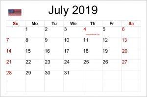 July 2019 Public Holidays Calendar USA