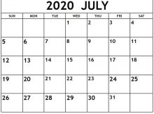 July 2020 Calendar Editable