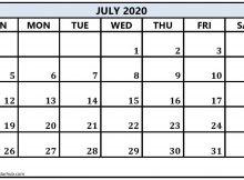 July Calendar 2020 Printable Word