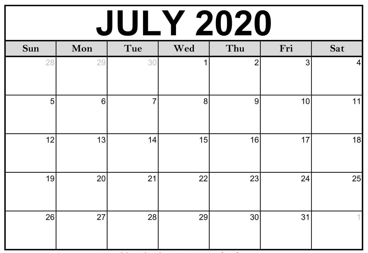 July Calendar 2020 Printable