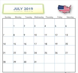 July Calendar USA 2019 Printable Images