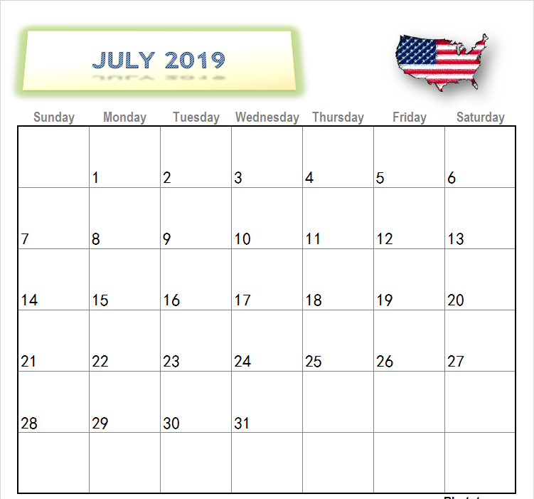 July Calendar USA 2019 Printable Images