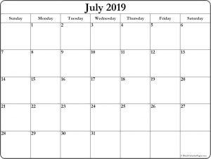 July Printable Calendar 2019 Word