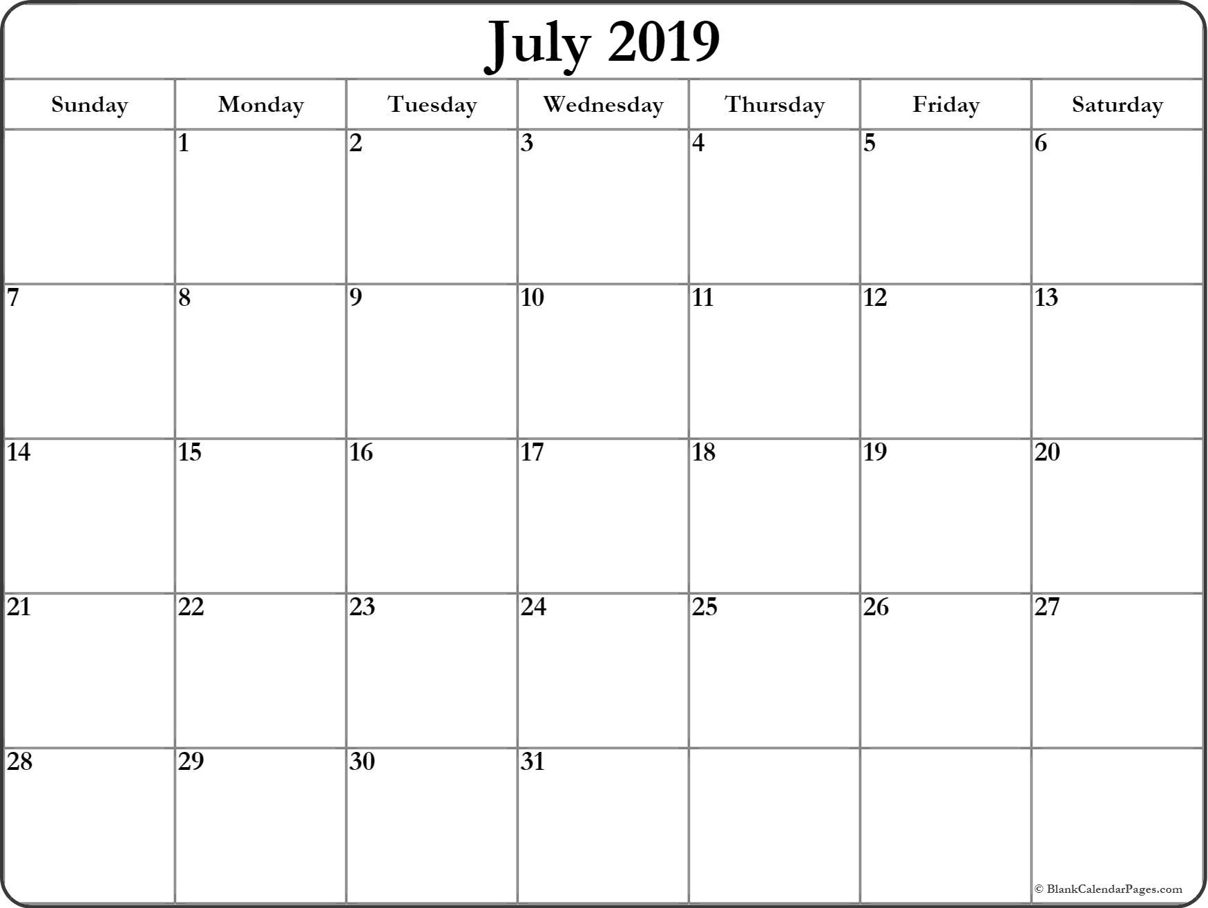 July Printable Calendar 2019 Word