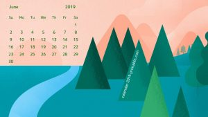 June 2019 Calendar Desktop Wallpaper