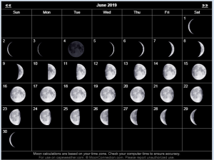 June 2019 Moon Calendar Template