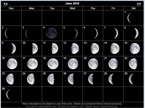 June 2019 Moon Calendar Template