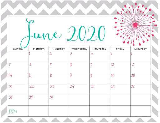 June 2020 Office Desk Calendar