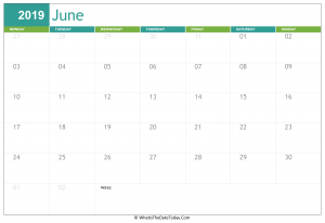 June Calendar 2019 Cute