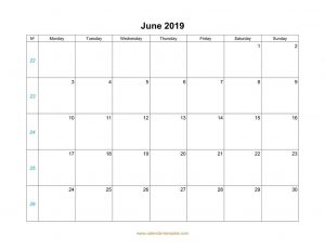 June Calendar 2019 With Notes