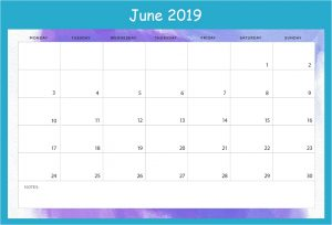 June Desk Calendar 2019