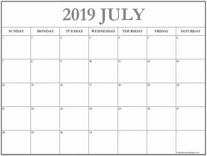 Monthly Blank Calendar Template July 2019