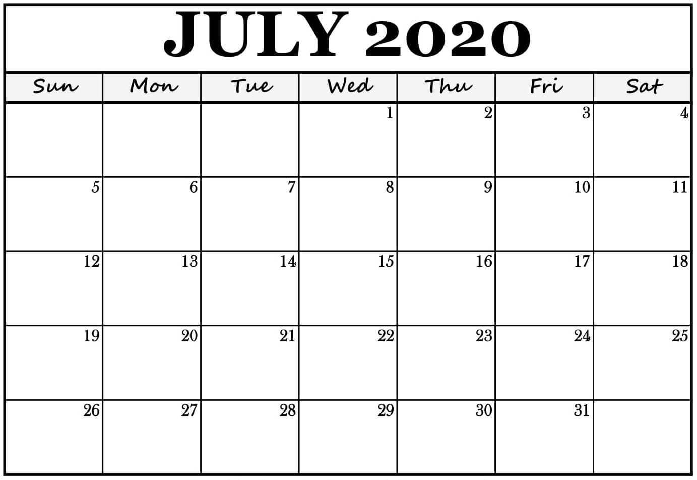 Monthly July 2020 Printable Calendar