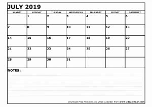 Printable Calendar July 2019 With Notes
