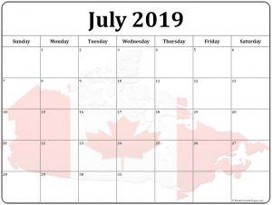 Printable July 2019 Calendar Canada