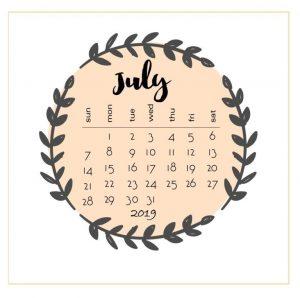 Printable July 2019 Calendar PDF