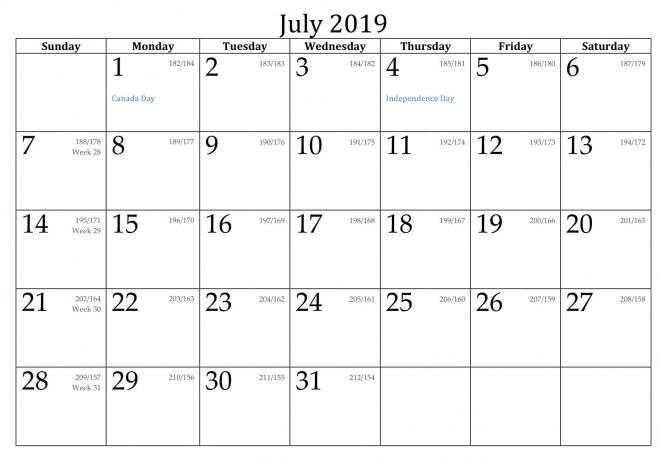 Printable July 2019 Holidays Calendar