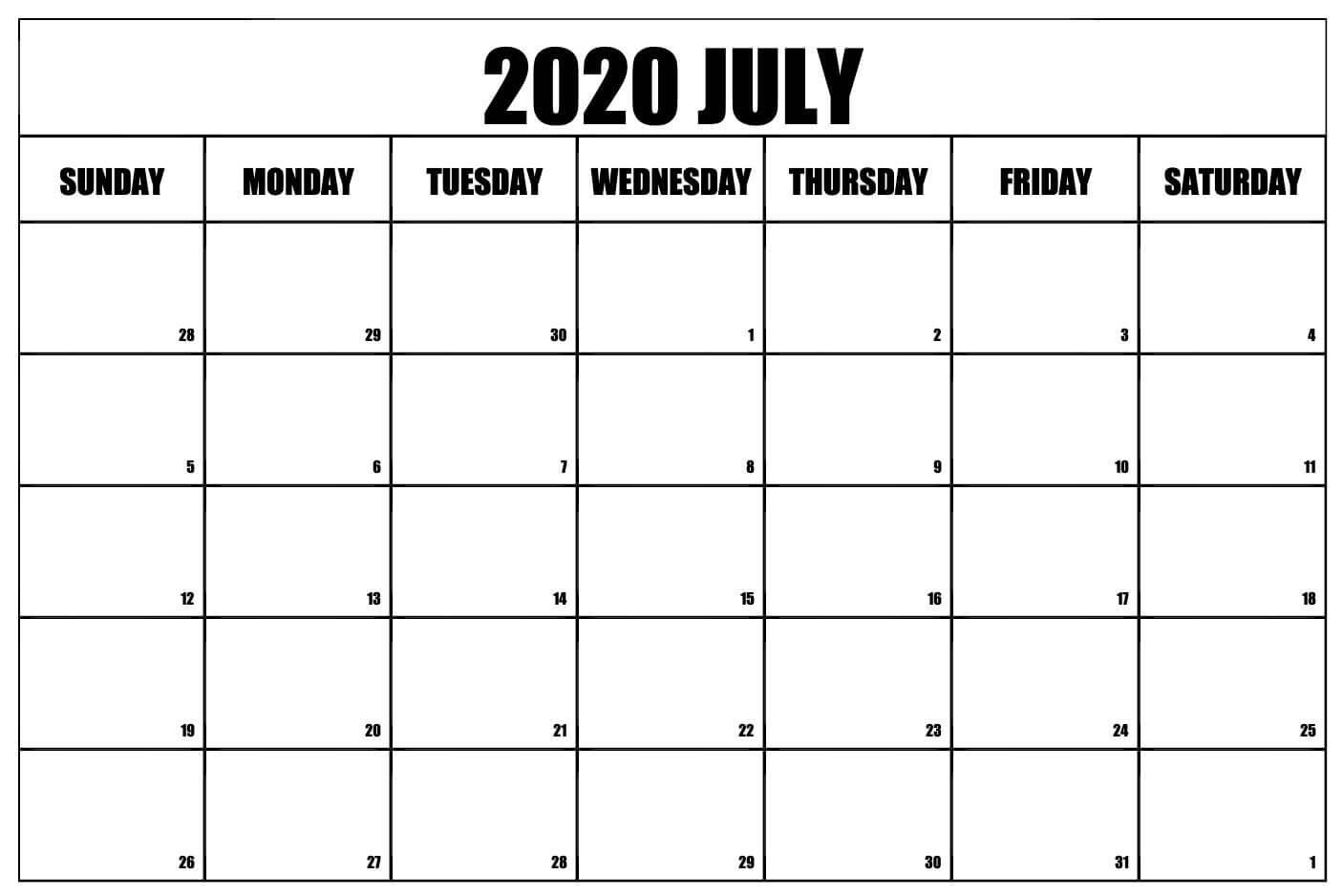 Printable July 2020 Calendar Template