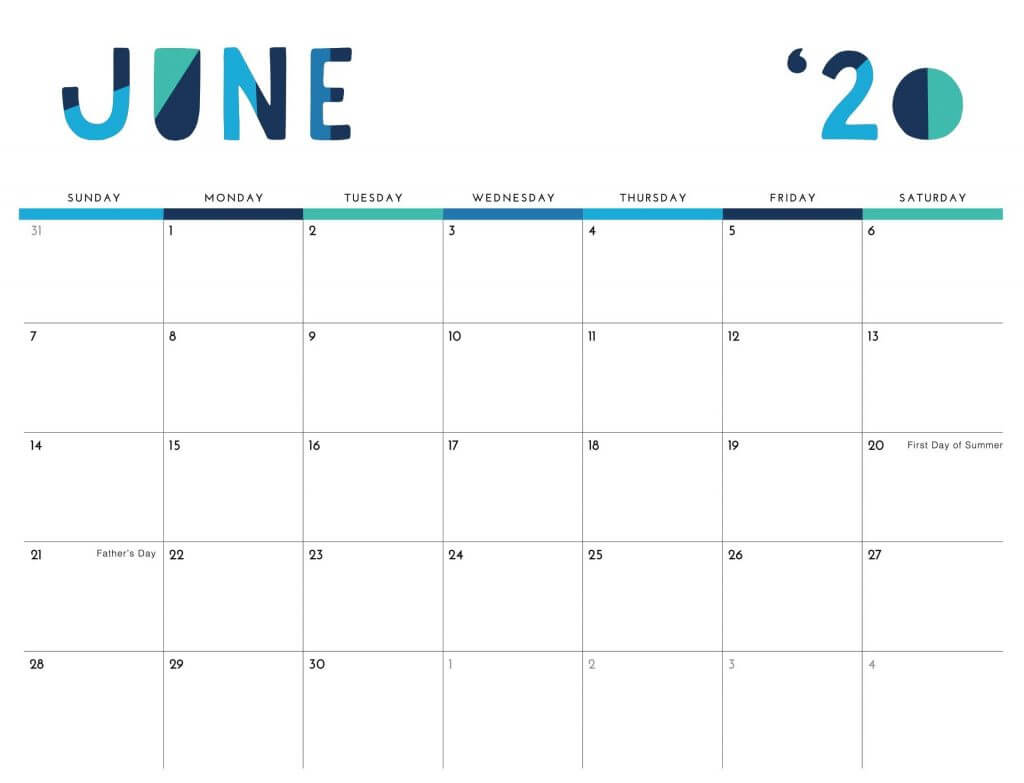 Printable June 2020 Calendar Cute