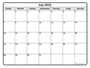 Printable Monthly Calendar July 2019